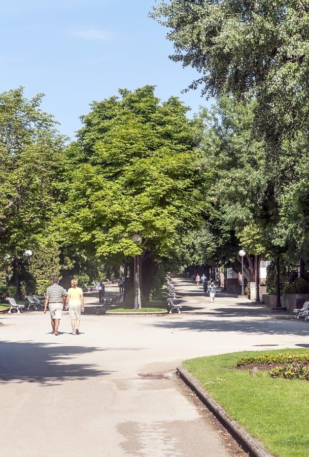 Gente que camina en un parque fotos de archivo