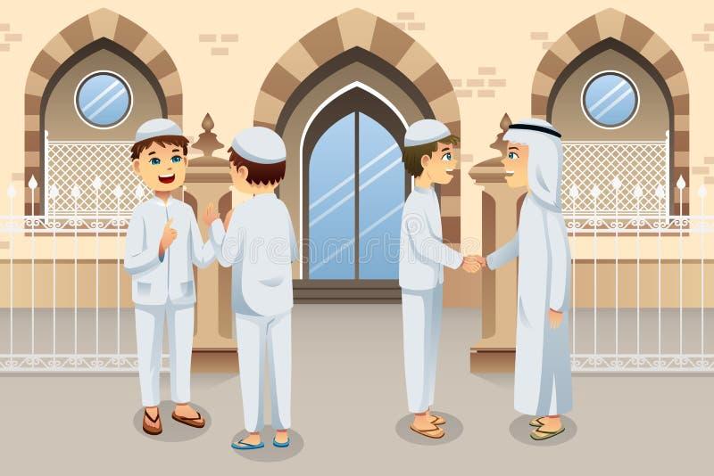 Gente que celebra el Eid-Al-fitr ilustración del vector