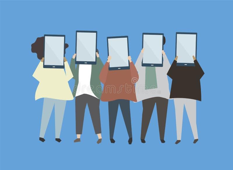 Gente que celebra el ejemplo digital de las tabletas libre illustration