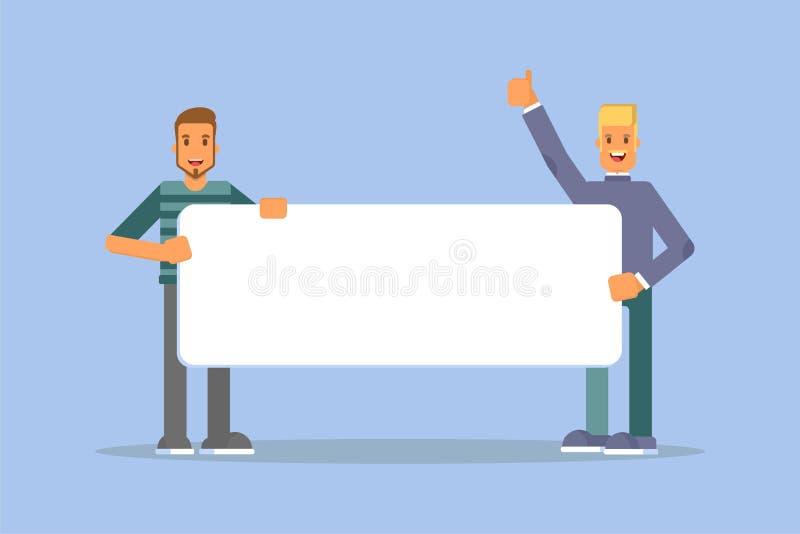 Gente que celebra el ejemplo plano de la bandera del promo libre illustration