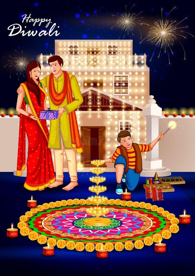 Gente que celebra el fondo feliz de la India del día de fiesta de Diwali ilustración del vector