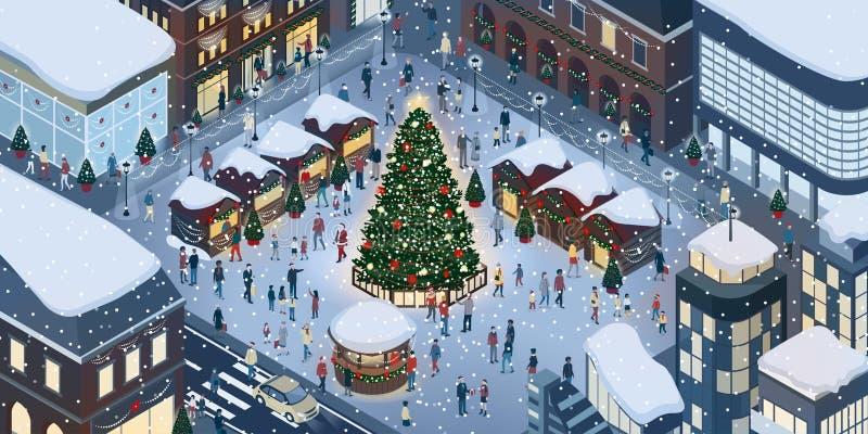 Gente que celebra la Navidad junta ilustración del vector