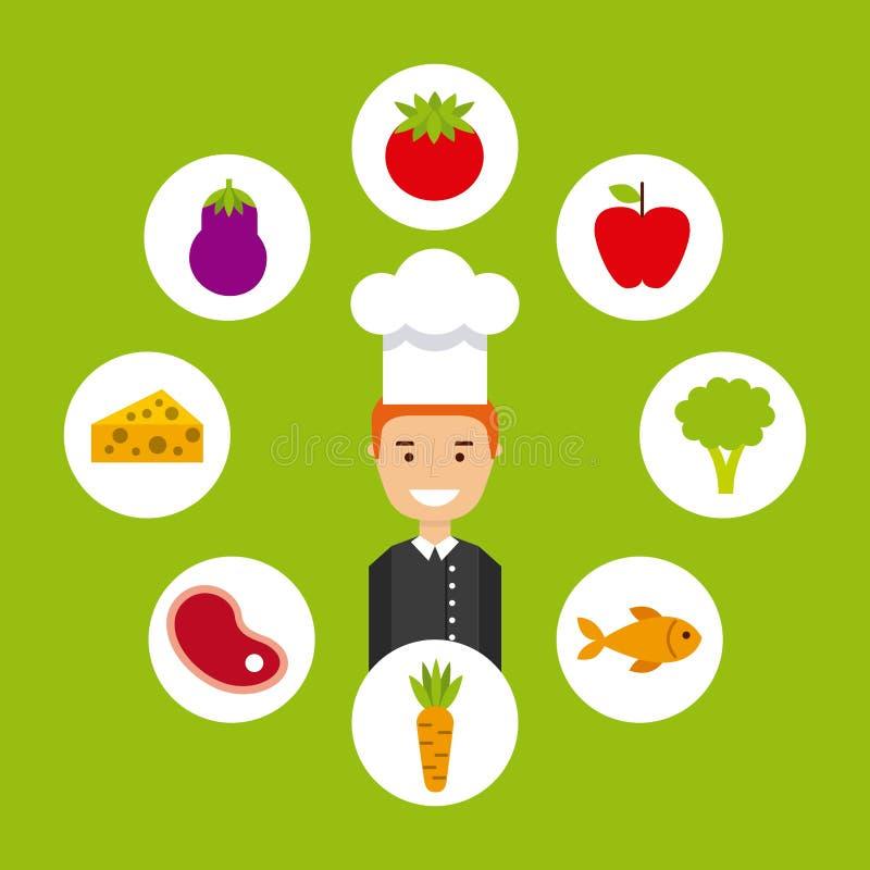 Gente que cocina diseño stock de ilustración