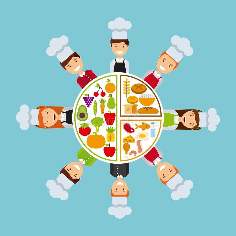 Gente que cocina diseño ilustración del vector