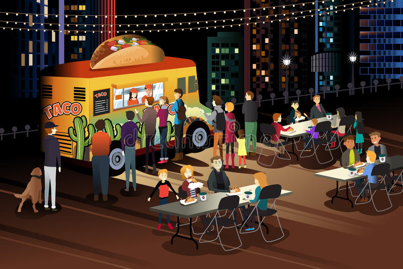 Gente que come el taco en el camión del taco en la noche ilustración del vector