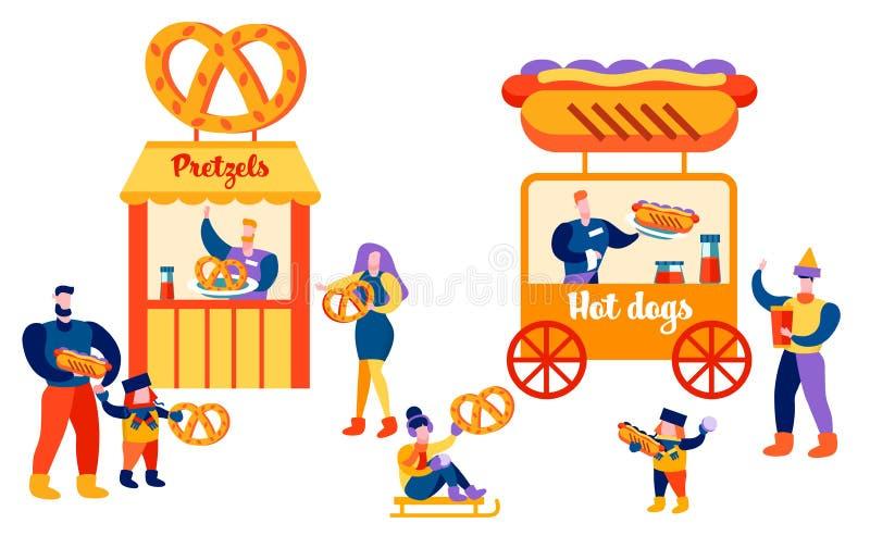 Gente que come en padres y niños del lugar público ilustración del vector