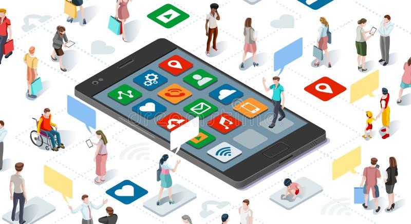 Gente que conecta el vector isométrico Infographic de Smartphone ilustración del vector