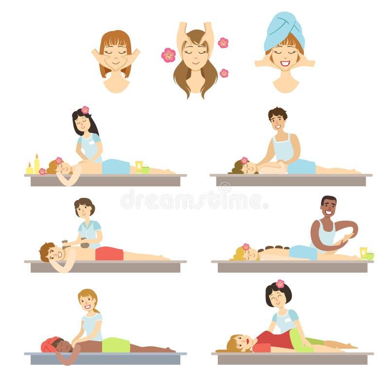 Gente que consigue el Facial y el masaje del cuerpo en balneario libre illustration