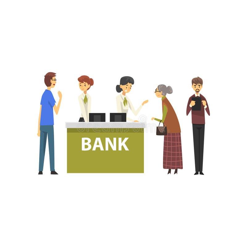 Gente que consulta en los encargados en la oficina del banco, trabajadores de sexo femenino del banco que proporcionan servicios  ilustración del vector