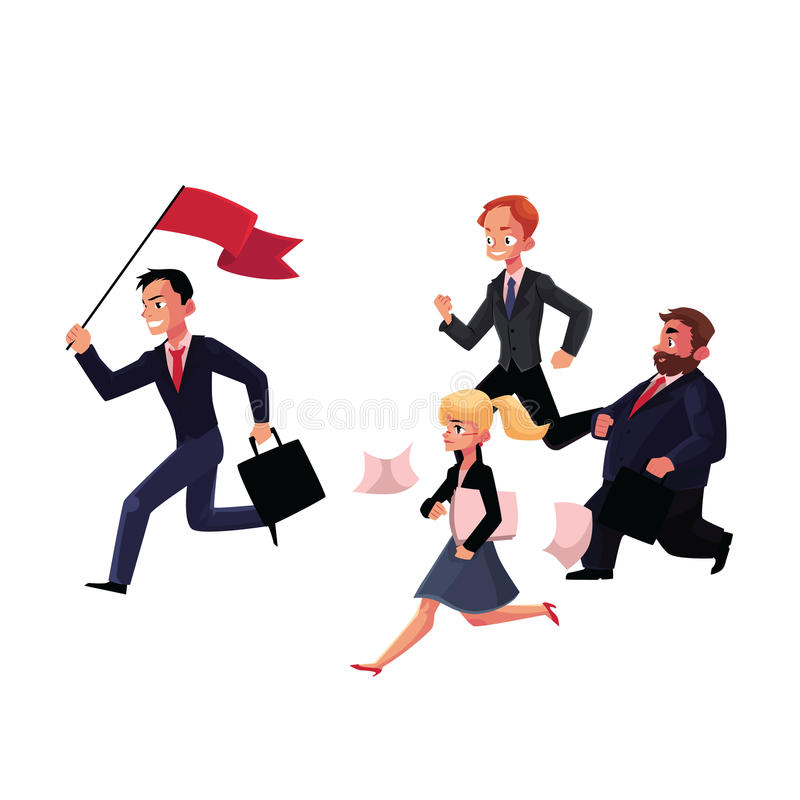 Gente que corre después del líder que sostiene la bandera, éxito empresarial, concepto de la carrera libre illustration
