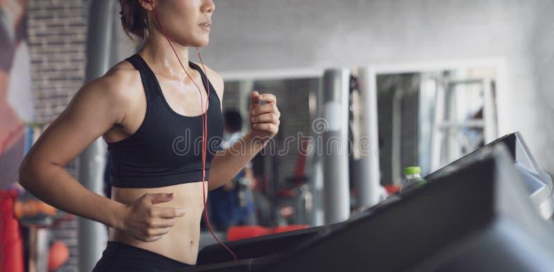 Gente que corre en rueda de ardilla de la máquina en el gimnasio de la aptitud, entrenamiento de la mujer joven en la forma de vi imagenes de archivo