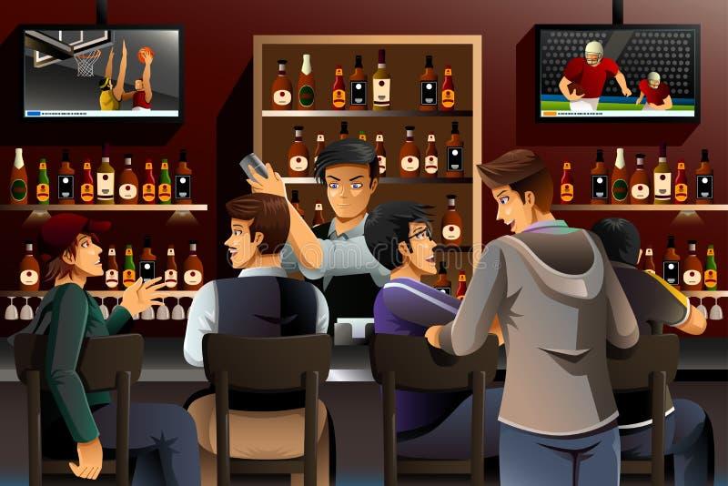Gente que cuelga hacia fuera en una barra ilustración del vector