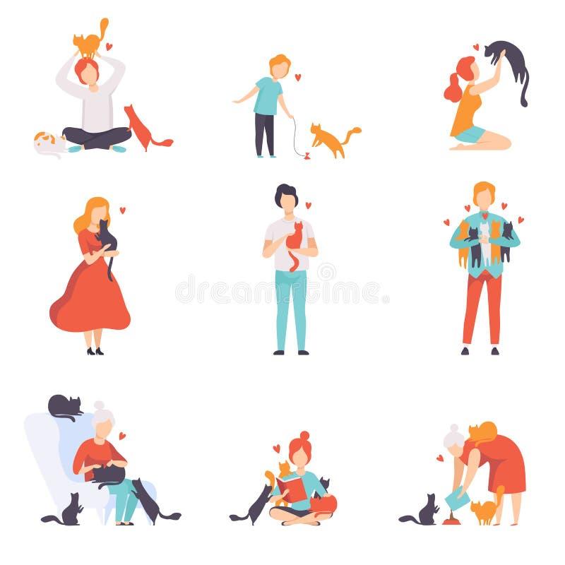 Gente que cuida, alimentando y jugando con sus gatos fijados, los animales domésticos adorables y su ejemplo del vector de los du ilustración del vector