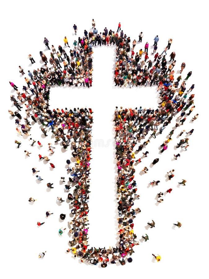 Gente que encuentra cristianismo, stock de ilustración