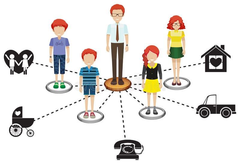 Gente que es miembros de un negocio del establecimiento de una red ilustración del vector