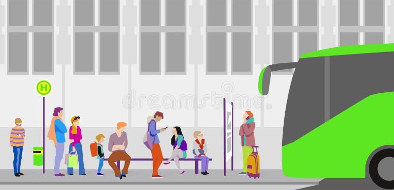 Gente que espera el autobús en la parada de autobús ilustración del vector