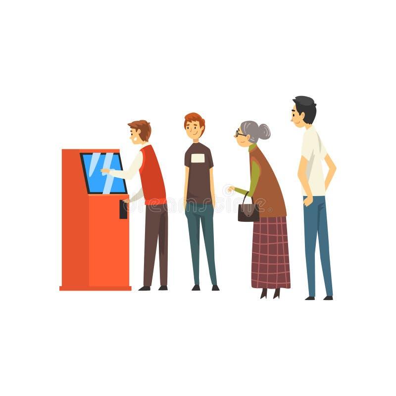 Gente que espera en la línea cola para extraer el dinero de la máquina del cajero automático, hombre que consigue el dinero a tra stock de ilustración