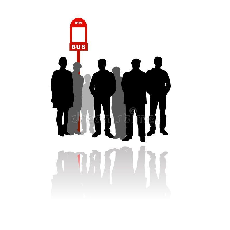 Gente que espera en la parada de omnibus stock de ilustración