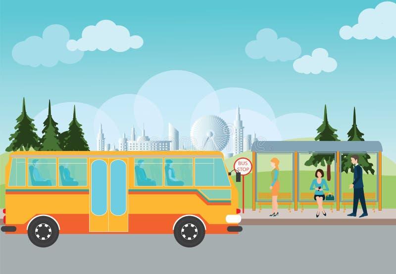 Gente que espera un autobús en la parada de autobús stock de ilustración