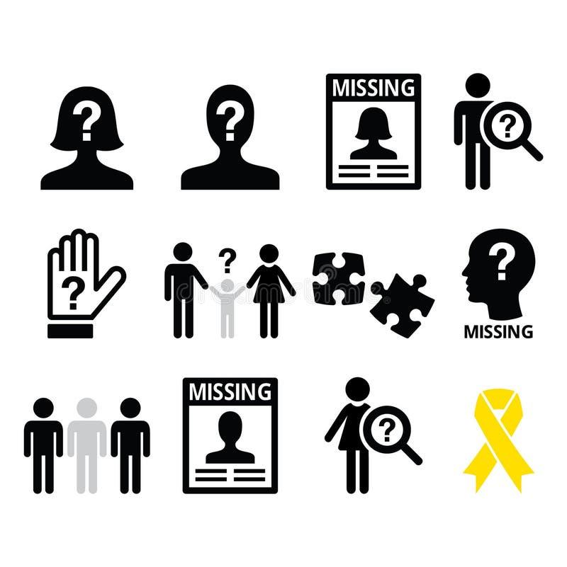 Gente que falta, iconos del niño desaparecido fijados libre illustration