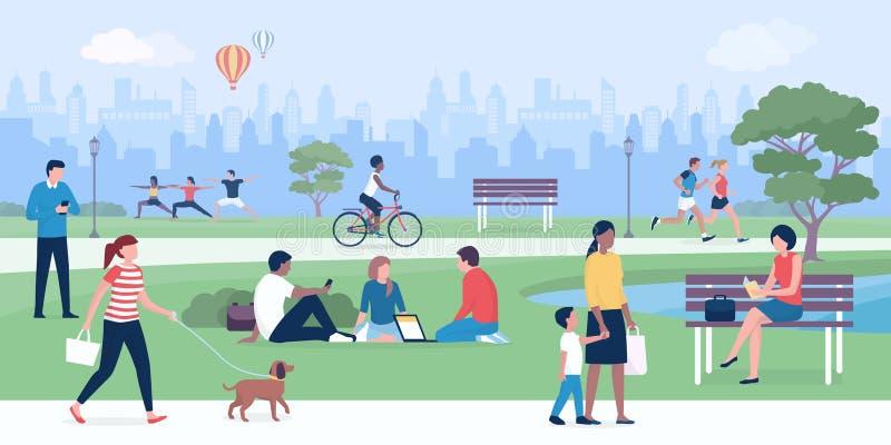 Gente que goza en el parque junto ilustración del vector