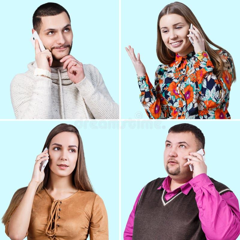 Gente que habla en una audioconferencia imagen de archivo