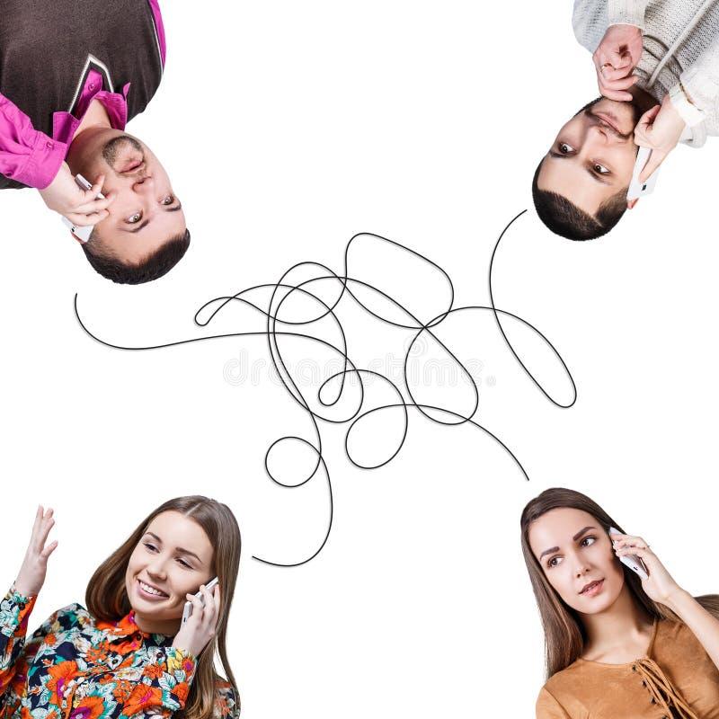 Gente que habla en una audioconferencia fotos de archivo libres de regalías