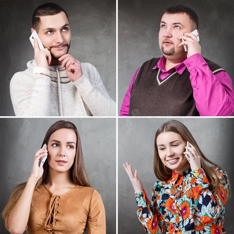 Gente que habla en una audioconferencia foto de archivo
