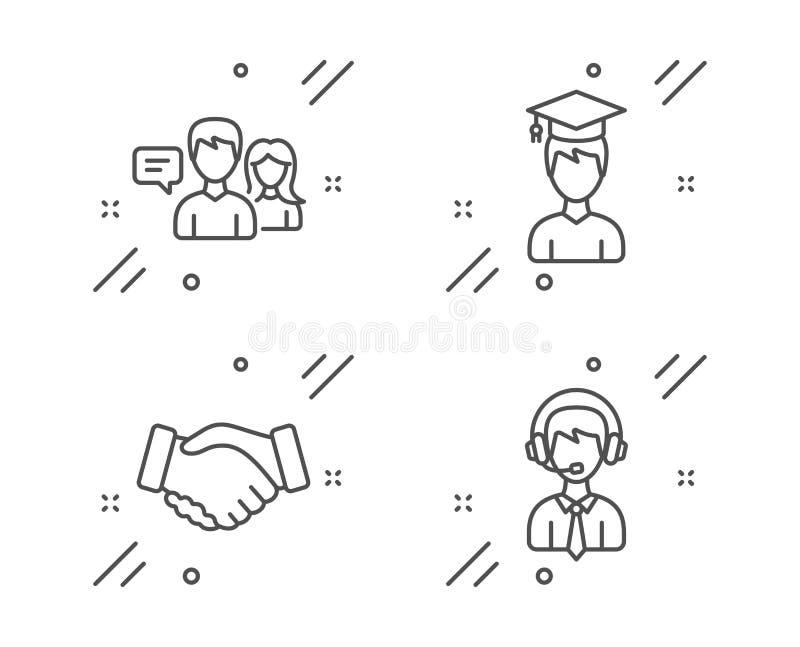 Gente que habla, sistema de los iconos del estudiante y del apretón de manos Muestra de env?o de la ayuda Vector stock de ilustración