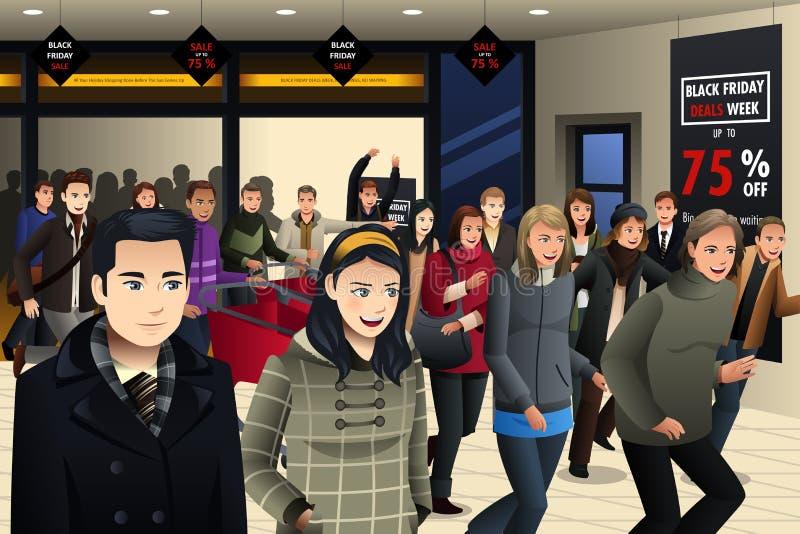 Gente que hace compras en Black Friday ilustración del vector