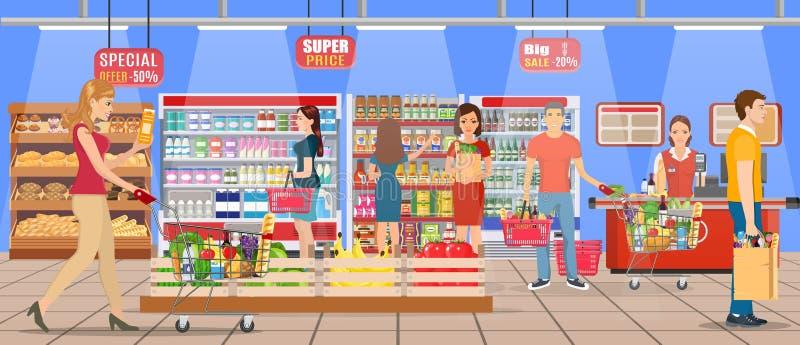 Gente que hace compras en el supermercado stock de ilustración