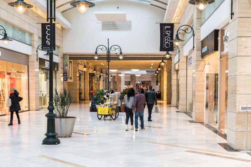 Gente que hace compras en interior de lujo de la alameda de compras fotografía de archivo libre de regalías