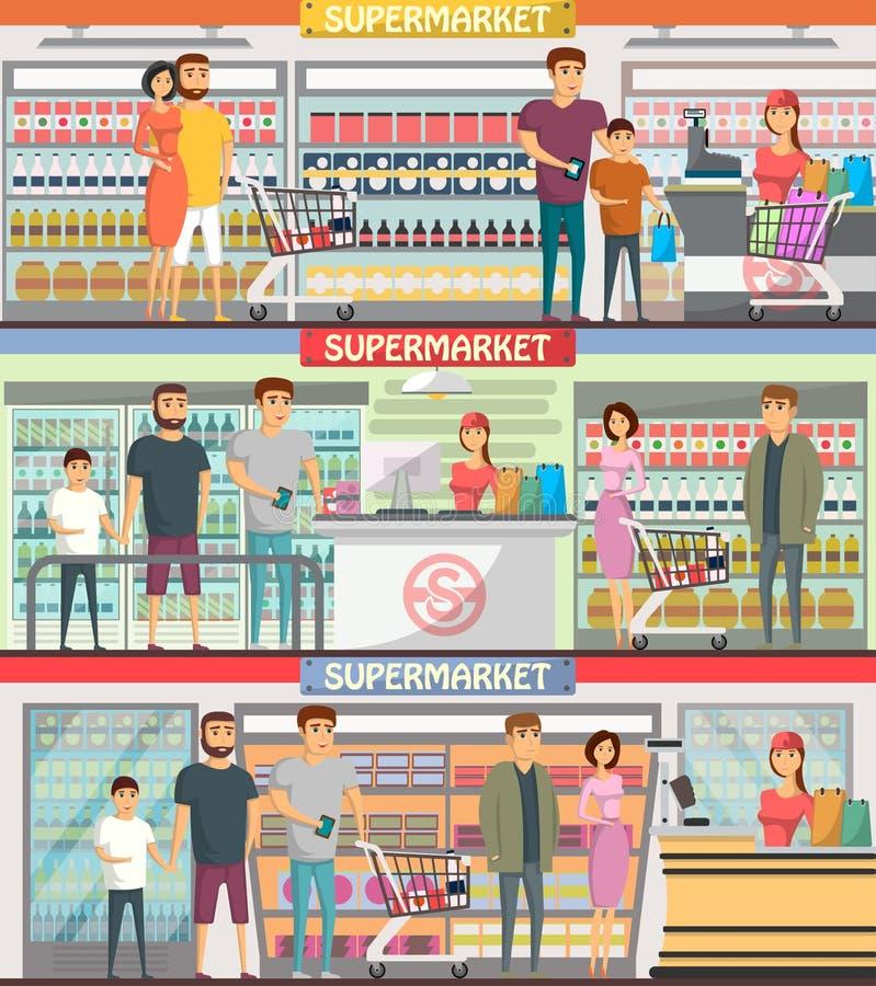 Gente que hace compras en las banderas del supermercado libre illustration