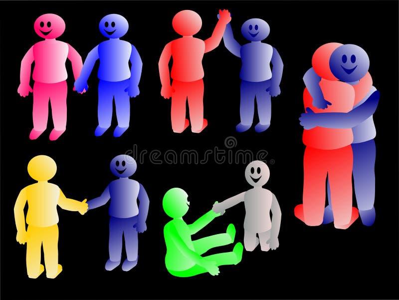 Gente que hace diversos gestos ilustración del vector