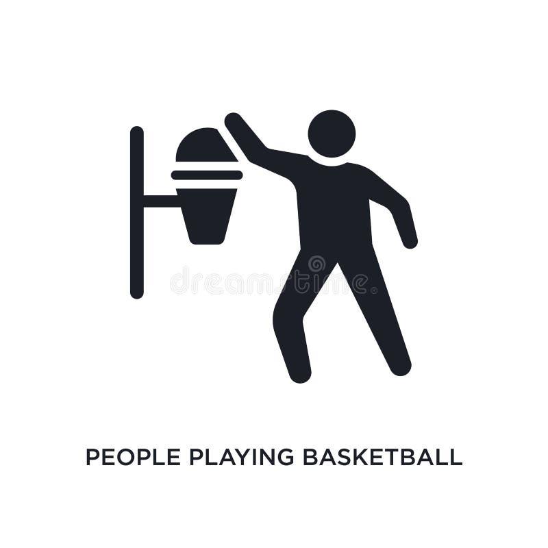 gente que juega el icono aislado baloncesto ejemplo simple del elemento de iconos recreativos del concepto de los juegos El jugar stock de ilustración
