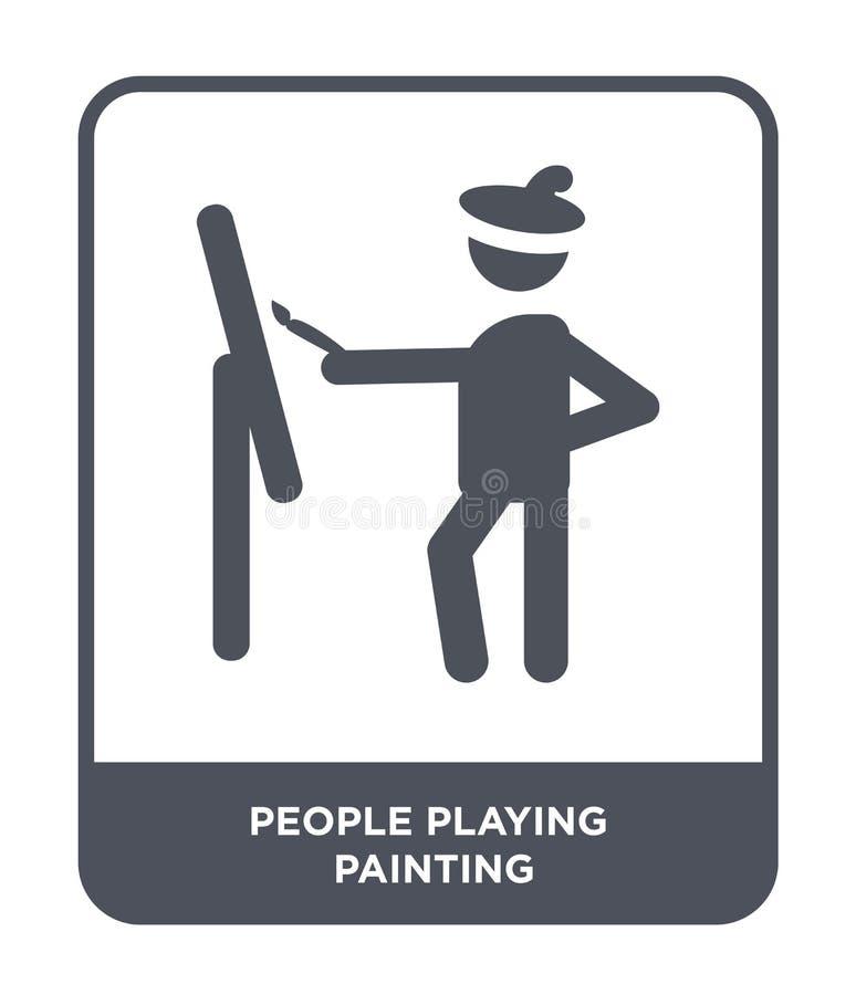 gente que juega el icono de pintura en estilo de moda del diseño gente que juega el icono de la pintura aislado en el fondo blanc libre illustration