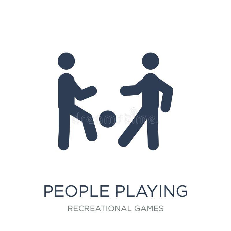 Gente que juega el icono del icono de la bola El jugar plano de moda de la gente del vector stock de ilustración