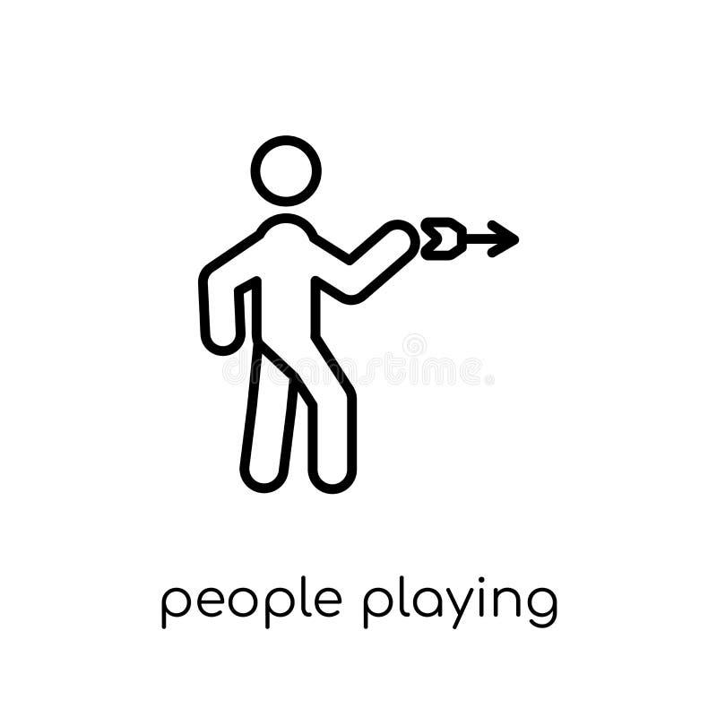 Gente que juega el icono del icono de los dardos Vector linear plano moderno de moda ilustración del vector