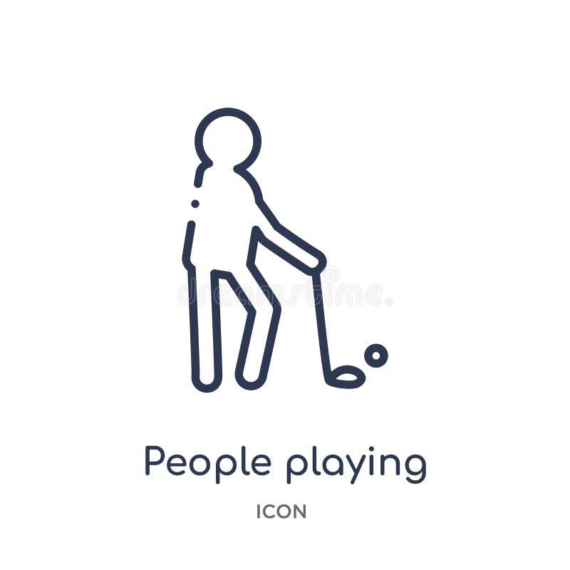gente que juega el icono del golf de la colección recreativa del esquema de los juegos Línea fina gente que juega el icono del go libre illustration