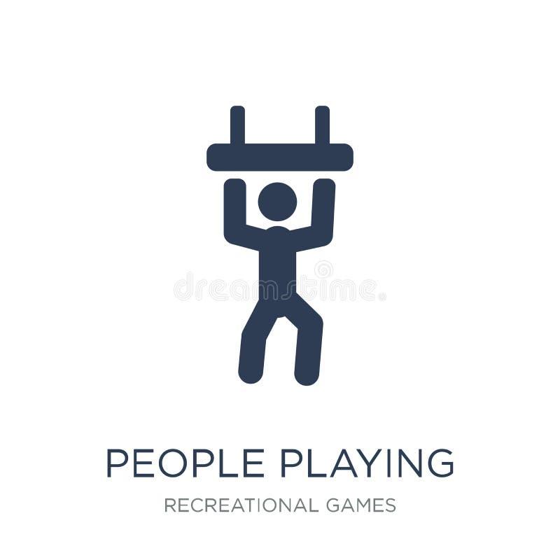 Gente que juega el icono del icono del trapecio Juego plano de moda de la gente del vector ilustración del vector
