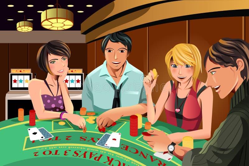 Gente que juega en casino stock de ilustración