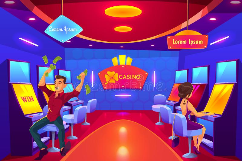 Gente que juega en el casino que juega en las máquinas tragaperras stock de ilustración