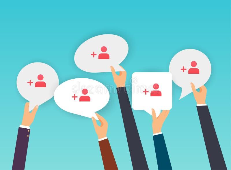 Gente que lleva a cabo burbujas del discurso con el icono de los suscriptores Diseño plano stock de ilustración