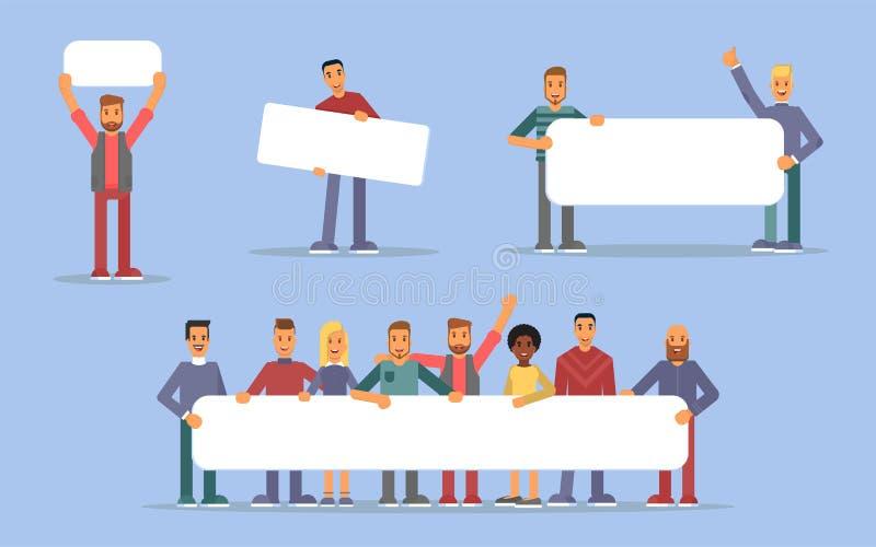Gente que lleva a cabo el sistema plano de los ejemplos de los carteles ilustración del vector