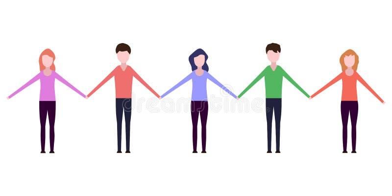 Gente que lleva a cabo las manos ilustración del vector