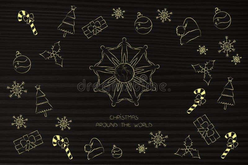 Gente que lleva a cabo las manos alrededor de decoratio de la tierra y de la Navidad del planeta libre illustration