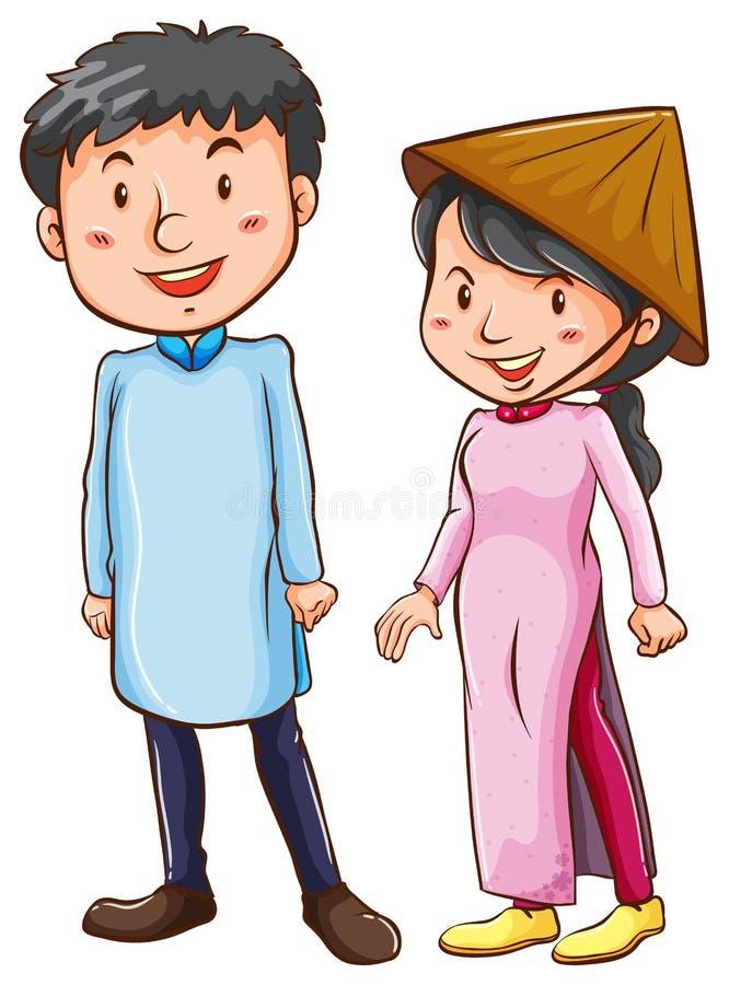 Gente que lleva el traje asiático ilustración del vector