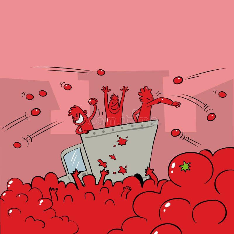 Gente que lucha con los tomates en un festival ilustración del vector