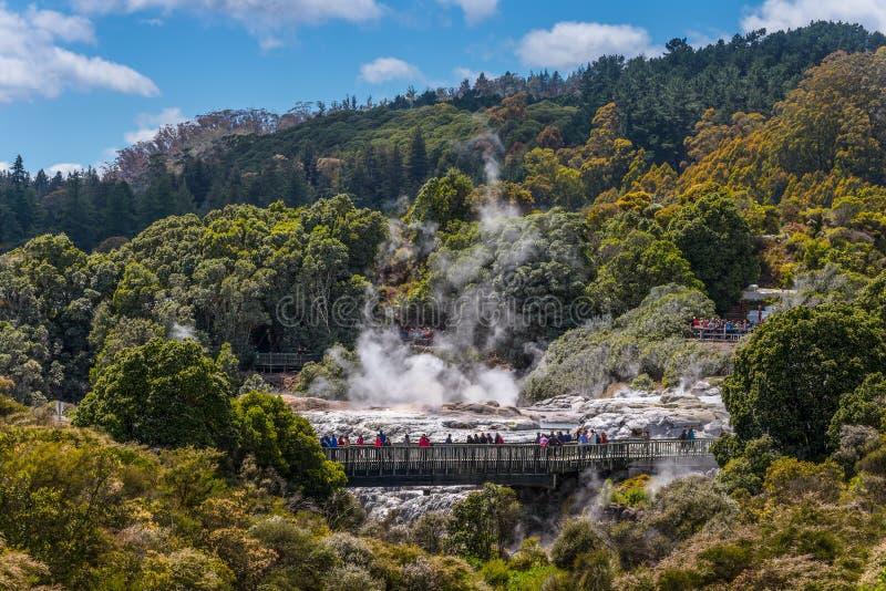 Gente que mira el géiser de Pohutu en Rotorua, Nueva Zelanda fotografía de archivo
