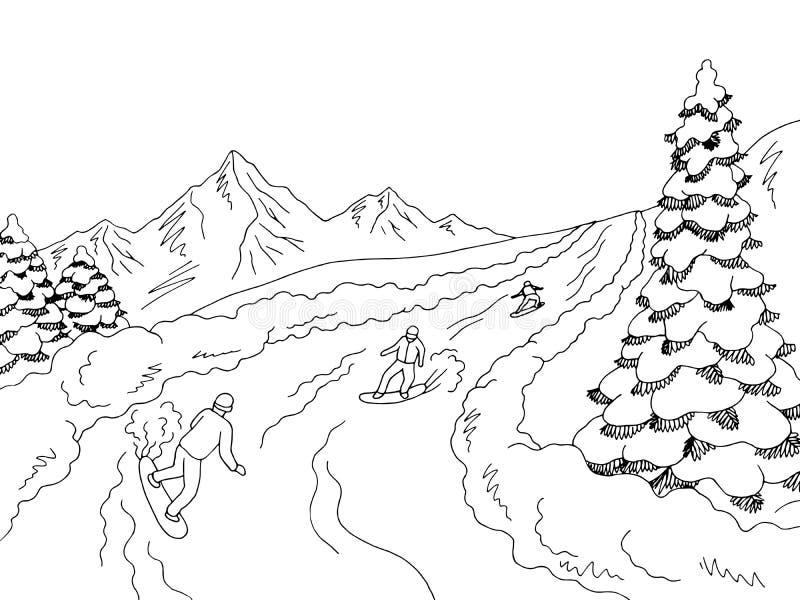 Gente que monta en snowboard en el vector blanco negro gráfico del ejemplo del bosquejo del paisaje de las montañas ilustración del vector